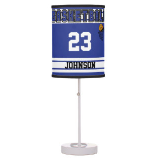Dark Blue and White Basketball Table Lamp