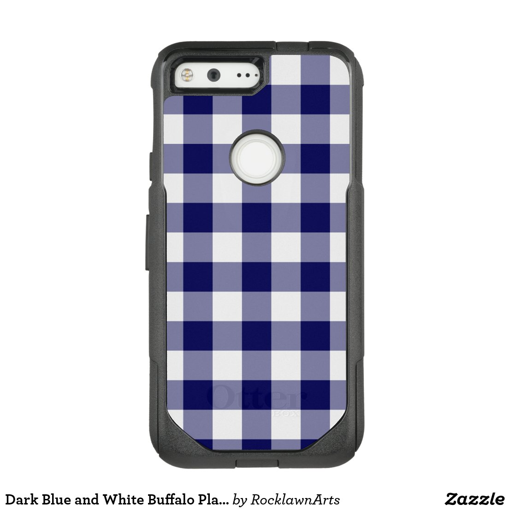 Dark Blue and White Buffalo Plaid OtterBox Commuter Google Pixel Case