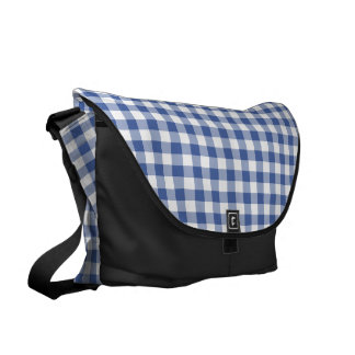 Dark Blue and White Check Gingham Courier Bag