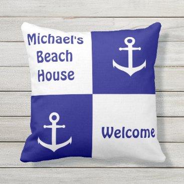 Beach Themed Dark Blue and White Checkerboard Anchor Pillow