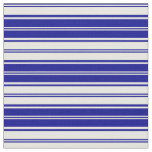 [ Thumbnail: Dark Blue and White Colored Stripes Pattern Fabric ]