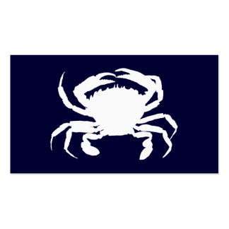 Dark Blue and White Crab Shape Business Cards