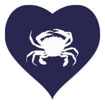 Dark Blue and White Crab Shape Heart Sticker
