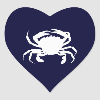 Dark Blue and White Crab Shape Heart Stickers
