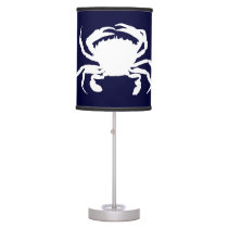 Dark Blue and White Crab Shape Table Lamp