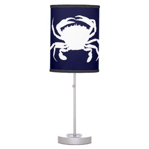 dark blue and white crab shape table lamp zazzle. Black Bedroom Furniture Sets. Home Design Ideas
