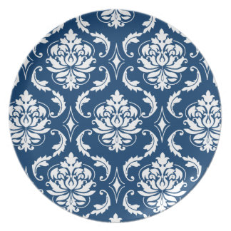 Dark Blue and White Damask Pattern Melamine Plates