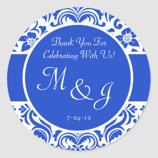 Dark Blue and White Damask Wedding Favor Labels Stickers