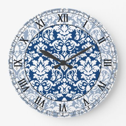 dark blue and white elegant damask roman numerals wall clock