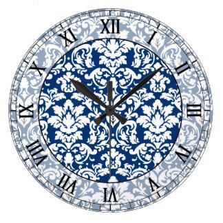 dark blue and white elegant damask roman numerals wall clocks