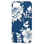 Dark Blue and white flower design iPhone 5 case