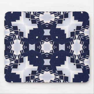 Dark Blue and White Geometric Mouse Pad