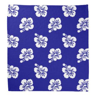 Dark Blue and White Hawaiian Floral Pattern Bandana