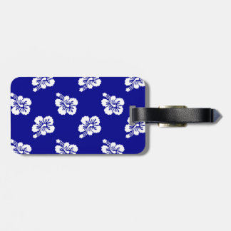 Dark Blue and White Hawaiian Floral Pattern Tag For Luggage