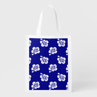 Dark Blue and White Hawaiian Floral Pattern Reusable Grocery Bags