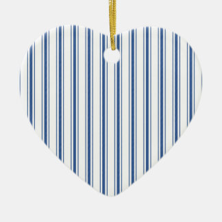 Dark Blue and White Mattress Ticking Narrow Stripe Ceramic Ornament