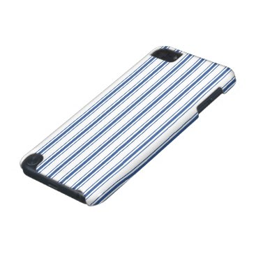 Beach Themed Dark Blue and White Mattress Ticking Narrow Stripe iPod Touch 5G Cover