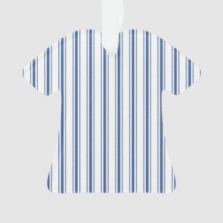 Dark Blue and White Mattress Ticking Narrow Stripe Ornament