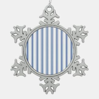 Dark Blue and White Mattress Ticking Narrow Stripe Snowflake Pewter Christmas Ornament