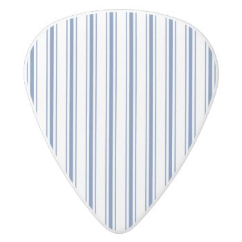 Dark Blue And White Mattress Ticking Narrow Stripe White Delrin Guitar Pick by Honor_and_Obey at Zazzle