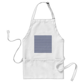 Dark Blue and White Oval Pattern Adult Apron