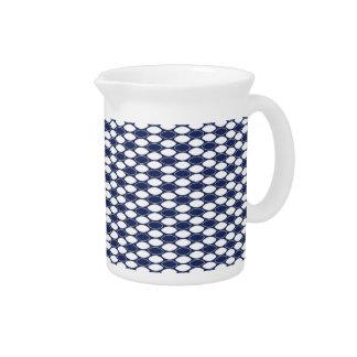 Dark Blue and White Oval Pattern Beverage Pitcher