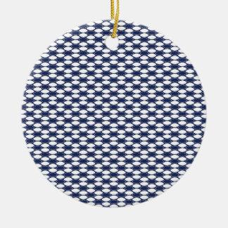 Dark Blue and White Oval Pattern Ceramic Ornament
