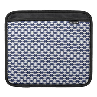 Dark Blue and White Oval Pattern iPad Sleeve
