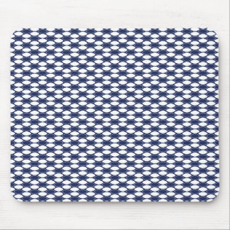 Dark Blue and White Oval Pattern Mouse Pad