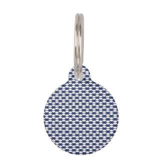 Dark Blue and White Oval Pattern Pet Tag