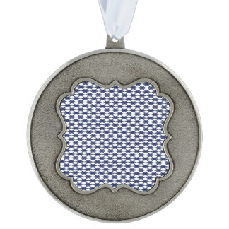 Dark Blue and White Oval Pattern Pewter Ornament