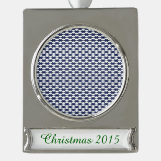 Dark Blue and White Oval Pattern Silver Plated Banner Ornament