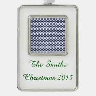 Dark Blue and White Oval Pattern Silver Plated Framed Ornament