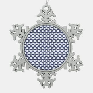 Dark Blue and White Oval Pattern Snowflake Pewter Christmas Ornament