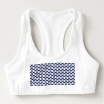 Dark Blue and White Oval Pattern Sports Bra
