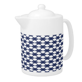 Dark Blue and White Oval Pattern Teapot