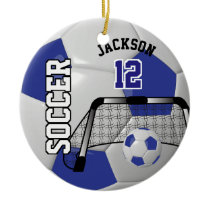 Dark Blue and White Personalize Soccer Ball Ceramic Ornament