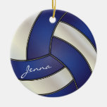Dark Blue and White Personalize Volleyball Ornament