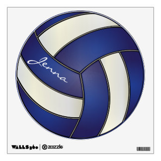 Dark Blue and White Personalize Volleyball Wall Graphic