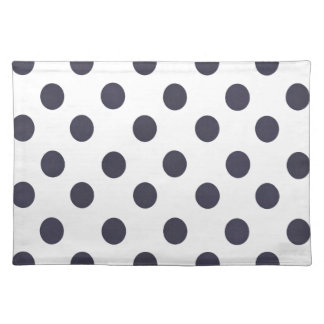 Dark Blue and White Polkadots Cloth Placemat