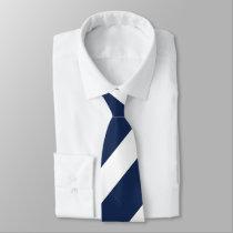 Dark Blue and White Regimental Stripe Tie