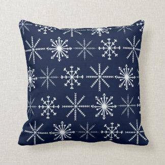 Dark Blue and White Snowflakes Pillow