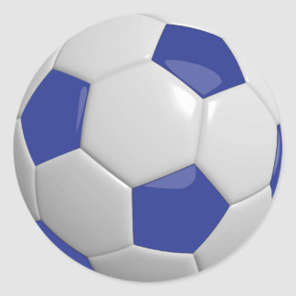 Dark Blue and White Soccer Ball Classic Round Sticker