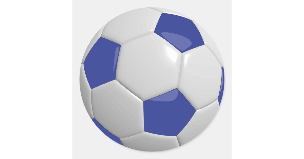 Dark Blue and White Soccer Ball Classic Round Sticker | Zazzle.com