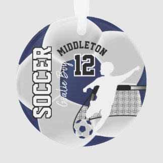 Dark Blue and White Soccer Goalie Boy Ornament