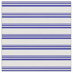 [ Thumbnail: Dark Blue and White Striped Pattern Fabric ]