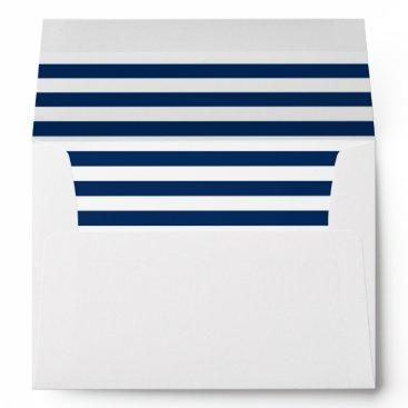 partridgelanestudio Dark Blue and White Striped with Return Address Envelope
