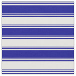 [ Thumbnail: Dark Blue and White Stripes Fabric ]