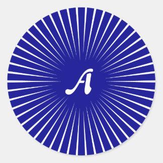 Dark Blue and White Sunrays Monogram Sticker