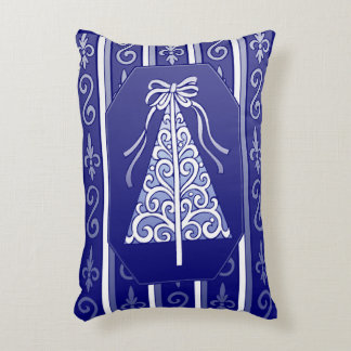 Dark Blue And White Swirls Stripes Christmas Tree Accent Pillow